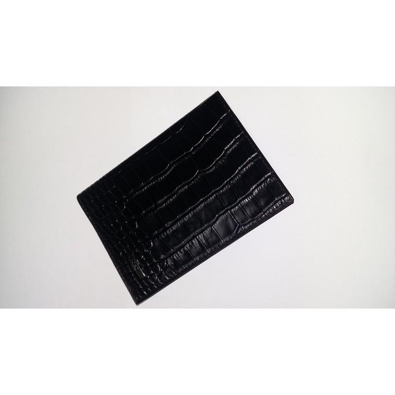 Обложка на паспорт из натуральной кожи BOND черная c теснением   - фото 1